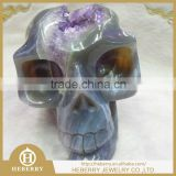 "4.5"" 0.75KG Natural Geode Agate Carved Crystal Skull, Scary Crystal Mask, home decoration good collection"