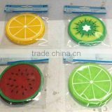Coasters sets of 4,beautiful plastic rubber glass cup coasters,watermelon,orange,lemon,kiwi designs for your choice