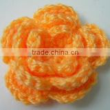soft orange mohair decorative crochet flowers knitted baby cap/crochet decorative flower