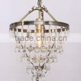 MC2137-1 Small Size Antique Brass Clear Crystal 1-lites Candelabra Vintage Furniture Chandelier Crystals Lighting