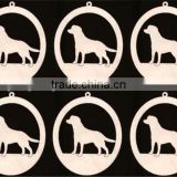 Hot sell Dog Lab Labrador Retriever Ornament 6 Pieces Natural Craft Wood Cutout made in China