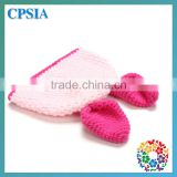 2014 Newest 100% Headband Light Pink Colour Knit Cap And Two Cute Ear Baby Cute Hat With Match Hot Pink Set