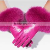 New 2017 Hot Pink Winter Women Warm Gloves High Quality Dermis Genuine Leather Fox Fur Gloves New Year Gift