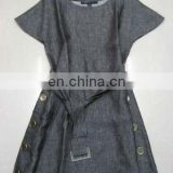 pure linen dress in gray color