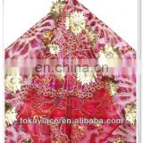 new hot sale red water soluble stone African french lace fabric for wedding dress