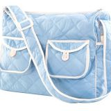 blue cotton fabric quilted bag with tote handle from China