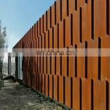 Decorative corten metal exterior wall panel and fence