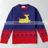 Happy new year crew neck Cotton children's sweaters new design knitted kids pullover sweater