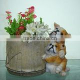 Polyresin flowerpot with dog statue for office/ home / garden decoration