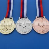 figure ice skating Russia sport medal with lanyard, 3D gold, silver bronze skating medal sports