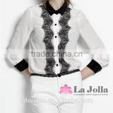 Fashion nylon lace blouse tshirt women long sleeve sexy embossing roller v-neck with button Black collar t-shirt