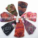 Beautiful Colorful Yarn Knittig Flower Decorated Fashion Women Head Band