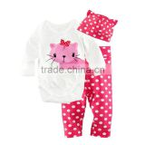 cute cat baby girl romper hot pink dots OEM organic baby romper set wholesale kids clothing set with hat and romper                                                                                                         Supplier's Choice