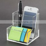 clear square pen box pencil case holder desk stationery organizer office supply
