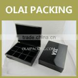 Beautiful Black Glossy Wooden Tea Gift Caddy With 12 cells for Tea Packaging