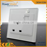Hotle / Home usage 3Pin Glass cover Plate Britian Type G power socket double USB outlet Uk plug 230V 13A