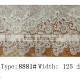2015 Water soluble lace design ladies fashion flower New arrival lace fabric gowns elastic lace many color and style