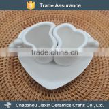 High quality white heart shape ceramic coffee couple cup with saucer