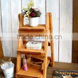 Antique foldable wood display ladder for home deco