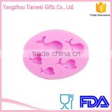 FDA Eco-friendly Cute Dolphin silicone mold Polymer Clay Crafts Molds Handmade Silicone Resin