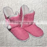 Premium quality pink cable knitted women indoor boots rubber cable boots
