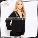 Latest Design Long Sleeve V Neck Lady Embroidery Blouse