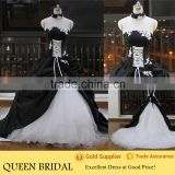 Newest Style Removable Neck Strapless Appliqued Lace Ball Gown Black And White Wedding Dresses