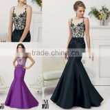 HA-013 2015 Elegant Trumpet Sheer Scoop Appliques Beaded Stain Celebrate Dress A-Line Ruched Beaded Prom Quinceanera Dress