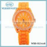 Japan movement beautiful geneva silicone watch for lady