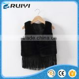 soft black faux fur vest,girls faux fur vests black