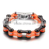 Guangdong factory hot sell Low MOQ Black&Orange women fashion crystal stainless steel bracelet biker chain motorcycle bracelets