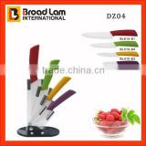 4pcs Ceramic Kitchen knives set with colorful handle in acrylic knife holder with nice gift box packing