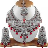 Artificial Brilliant Silver Tone V81 Maroon Delnaaz Jewelry Set