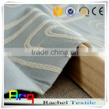 Indian geometry chain embroidery sea blue and white curtain fabric- star hotel Windows curtain match cushion