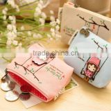 2016 Korea fashion quality canvas custom Zipper coin purse little girls printing promotional rectangle shape coin purse wallet