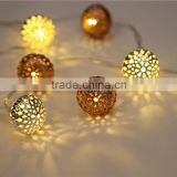 two color metal hollow ball led string light for Christmas Iindoor and outdoor decorative
