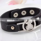 Spain fashion bear bracelet snap bracelet black leather bracelet
