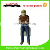 Man Embossed Handicraft Bone China OEM Ceramic Figurine