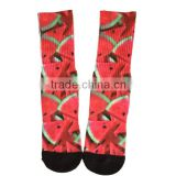 GS custom watermelon design black toe and heel long elastic cotton full terry heat transfer printing sublimatiom printed socks