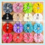 Handmade DIY Accessories 3d Chic Shabby Chiffon Flower Baby Applique Patterns Rhinestone Centered