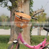 Hot sell cheap large handmade wicker bike basket with handle for sale