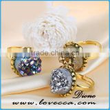 Beautiful gold rings designs women jewelry agate geode ring