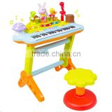 Cheapest Sweet Electric Musical Toy Plastic Keyboard Piano With Microphone Stool Teaching Light Up Keys