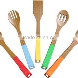 FDA,SGS,LFBG Vremi Bamboo utensils with silicon handle hook/Chinese manufacturer