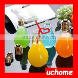 UCHOME 100 ml Light Bulb Drinking Jar Cocktail Plastic Bottle with Lid Straw