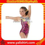 shiny fabric leopard girls striped leotard gymnastics kids wear dance custom latex suit
