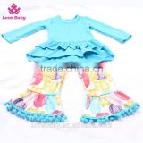 Ruffle Hem Blue Top With Owl Animal Prints Ruffle Pants Outfits Set Toldder Girl Clothing Set LBYTZ001-37