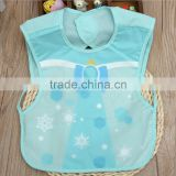 short sleeve soft plastic and cotton waterproof baby body bibs