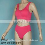 Fashion Ladies Sexy Seamless Sport Bra and Brief Set Stock Lot,140503