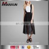 2016 Summer Dresses Black For Girls Chiffon Suspender Midi Skirt Maxi Dress Women Wear